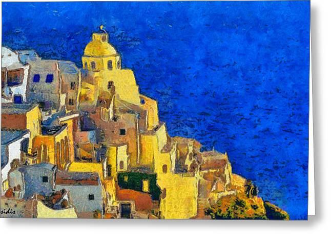 G.rossidis Greeting Cards - Santorini Greeting Card by George Rossidis