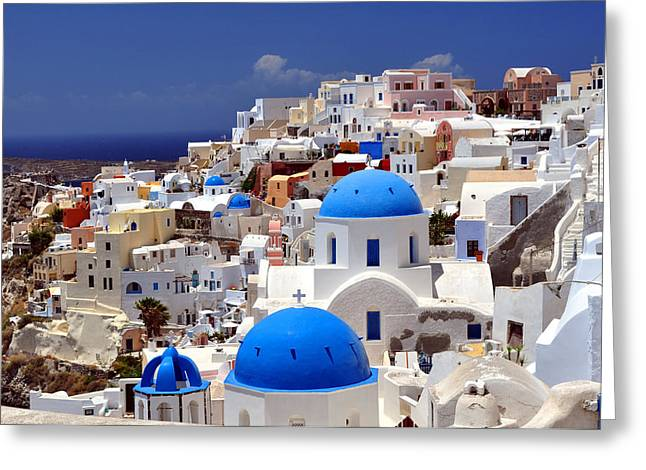 Greece Photographs Greeting Cards - Santorini Island. Greeting Card by Fernando Barozza