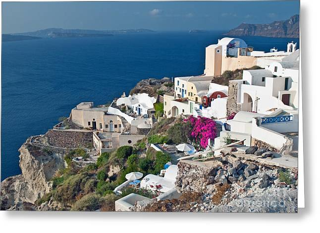 Cupola Greeting Cards - Santorini lifestyle Greeting Card by Jim Chamberlain