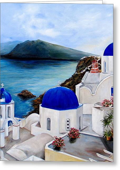 Greece Greeting Cards - Santorini Greeting Card by Patricia DeHart