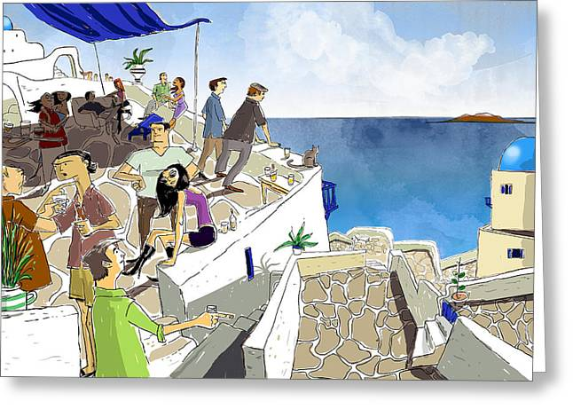 Oia Greeting Cards - Santorini Rooftop  Greeting Card by Sean Hagan
