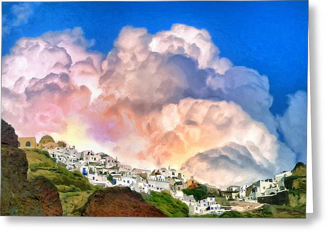 Santorini Sunrise Greeting Card by Dominic Piperata
