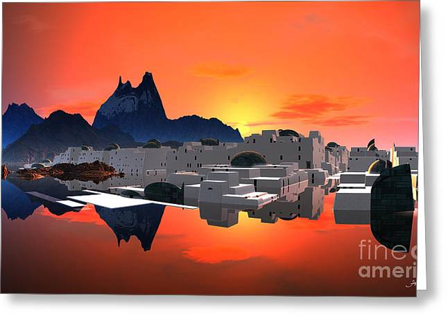 Fine Mixed Media Greeting Cards - Santorini Sunrise  Greeting Card by Heinz G Mielke
