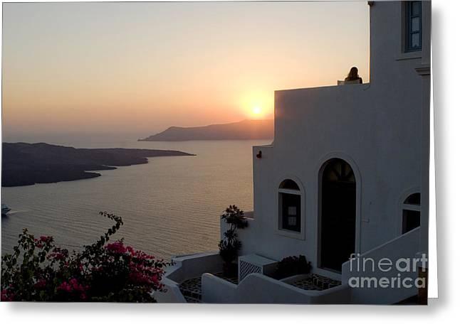 Santorini Sunset Greeting Card by Leslie Leda