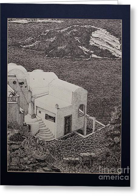 Mediterranean Landscape Drawings Greeting Cards - Santorini Greeting Card by Thomas  Ferguson