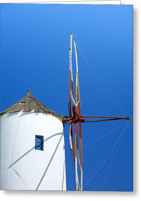 Thatch Greeting Cards - Santorini windmill Greeting Card by Paul Cowan