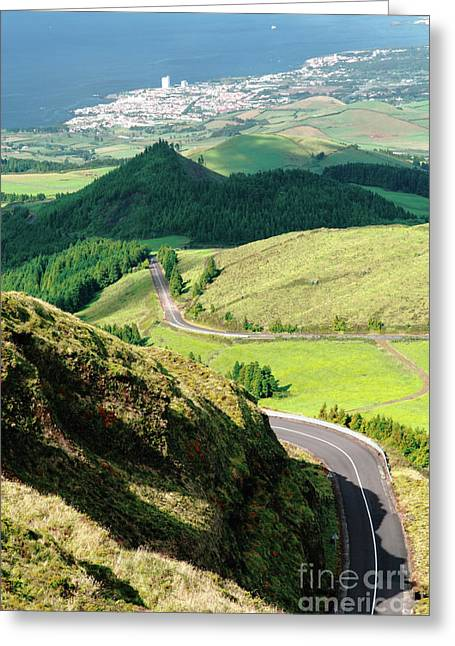 Mountain Road Greeting Cards - Sao Miguel Greeting Card by Gaspar Avila
