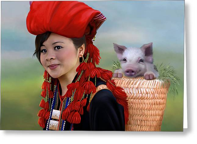 Piglets Greeting Cards - Sapa girl and her pig - new Greeting Card by Thanh Thuy Nguyen