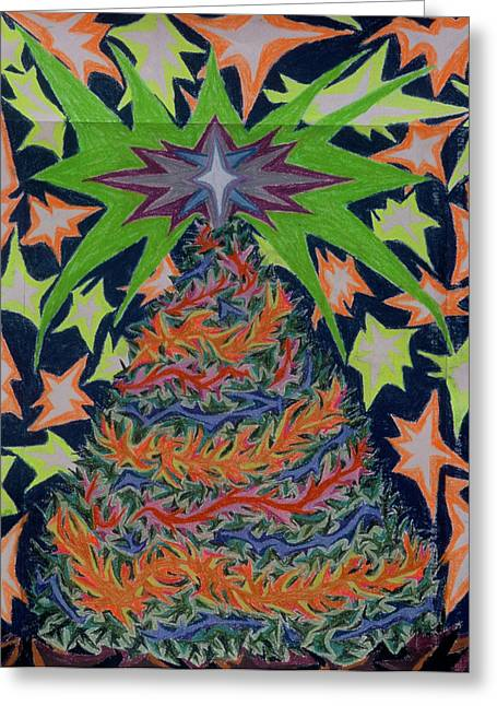 Christianity Pastels Greeting Cards - Sapin Noel 2 Greeting Card by Robert  SORENSEN