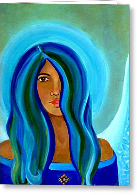 Earthangel Greeting Cards - Sapphire Angel Greeting Card by The Art With A Heart By Charlotte Phillips