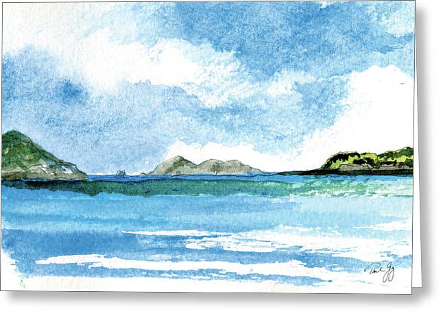 St. Thomas Greeting Cards - Sapphire Bay Towards Tortolla Greeting Card by Paul Gaj