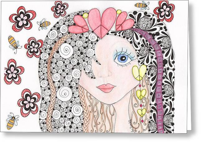 Pen And Ink Drawing Greeting Cards - Sarah Greeting Card by Paula Dickerhoff