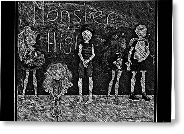 Stein Greeting Cards - Sarahs Monster High Collection Black and White Sketch Greeting Card by Barbara Griffin