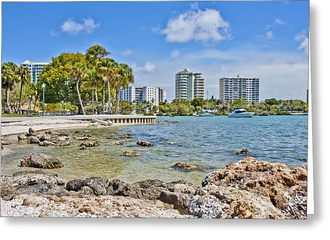 Bayfront Greeting Cards - Sarasota Bayfront Paradise Greeting Card by Betsy C  Knapp
