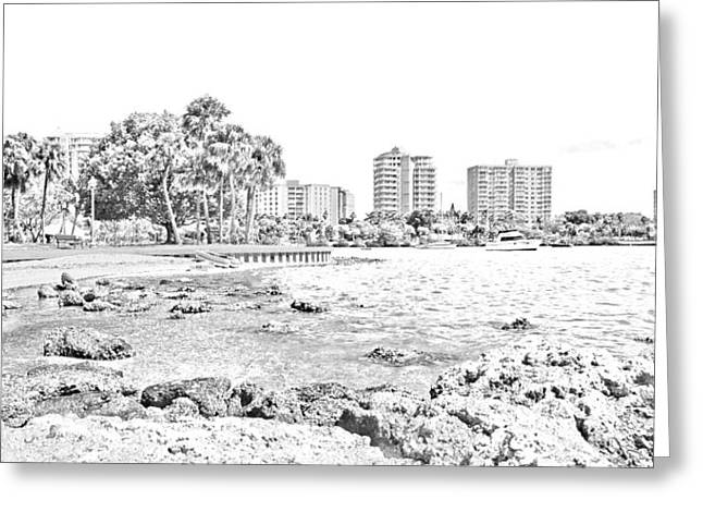 Bayfront Greeting Cards - Sarasota Sketch Greeting Card by Betsy C  Knapp