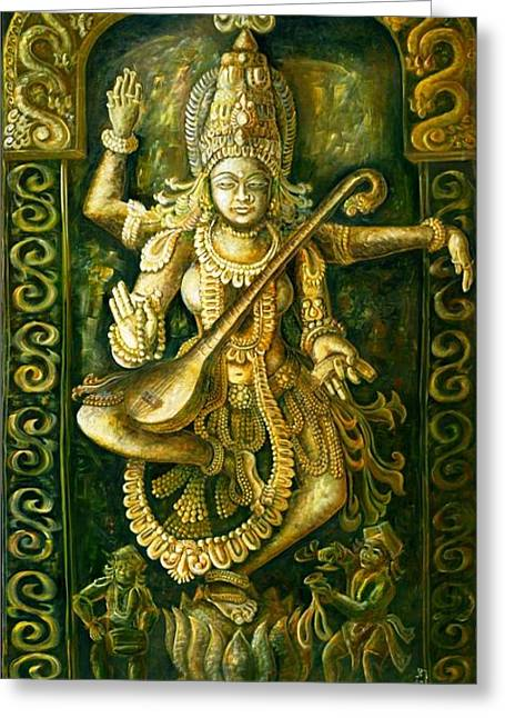Best Sellers -  - Goddess Durga Greeting Cards - Saraswathi Stone Relief Greeting Card by Murali Surya