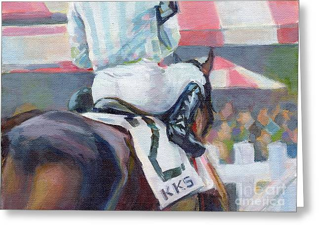 Race Horse Greeting Cards - Saratoga Stripes Greeting Card by Kimberly Santini