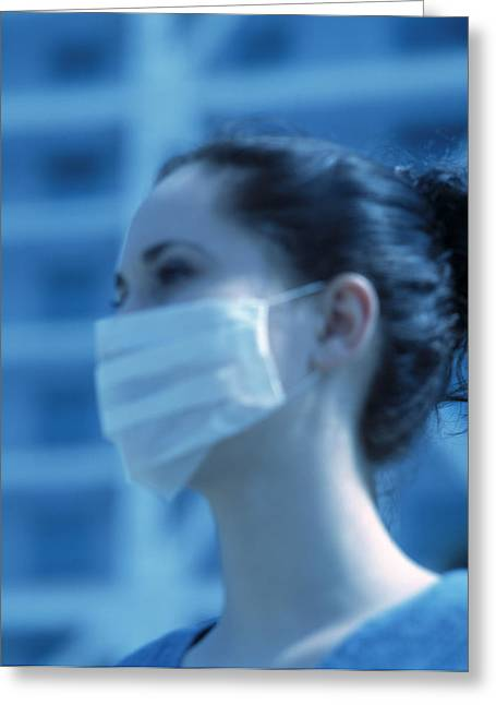 Virulent Greeting Cards - Sars Protection Face Mask Greeting Card by Cristina Pedrazzini