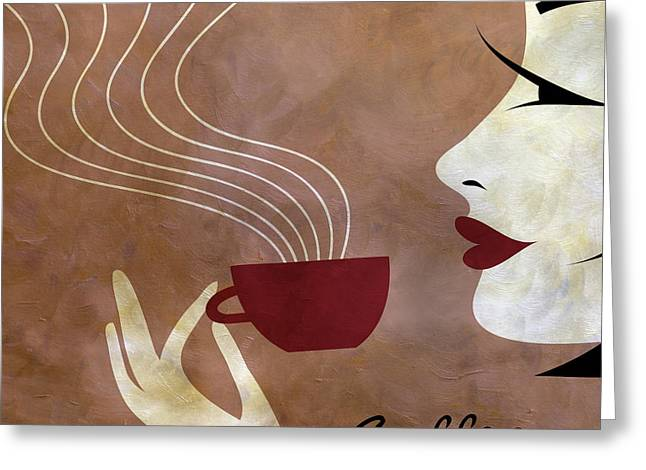 Brunette Mixed Media Greeting Cards - Sassy Lady Coffee Greeting Card by Angelina Vick