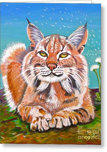 Sassy Lynx And Dandelions Greeting Card by Phyllis Kaltenbach