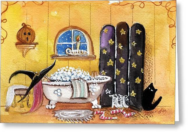 Witch Cat Greeting Cards - Sat Nite Bubble Bath  Greeting Card by Sylvia Pimental