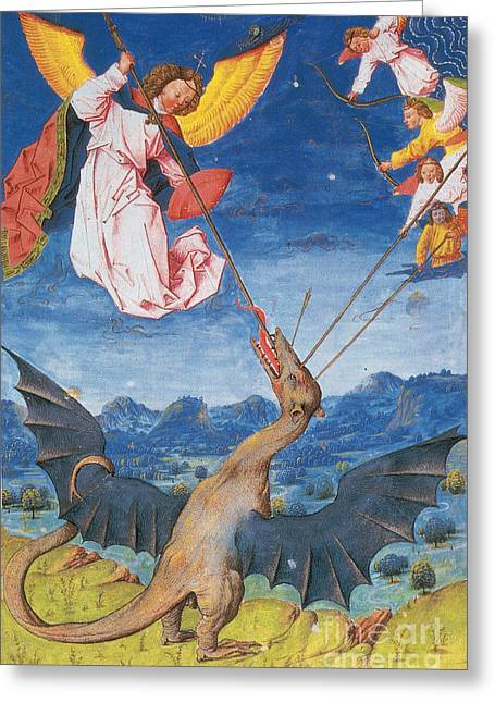 Satan As A Wyvern-liber Floridus Greeting Card by Photo Researchers