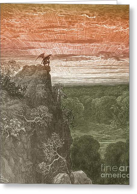 Dore Greeting Cards - Satan, By Dore Greeting Card by Photo Researchers