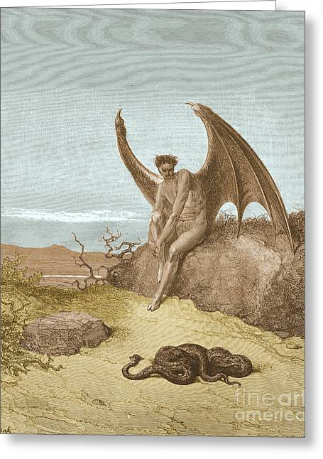 Dore Greeting Cards - Satan Finding Serpent, By Dore Greeting Card by Photo Researchers