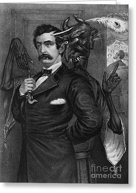 Abraham Lincoln Artwork Greeting Cards - Satan Tempting John Wilkes Booth Greeting Card by Photo Researchers