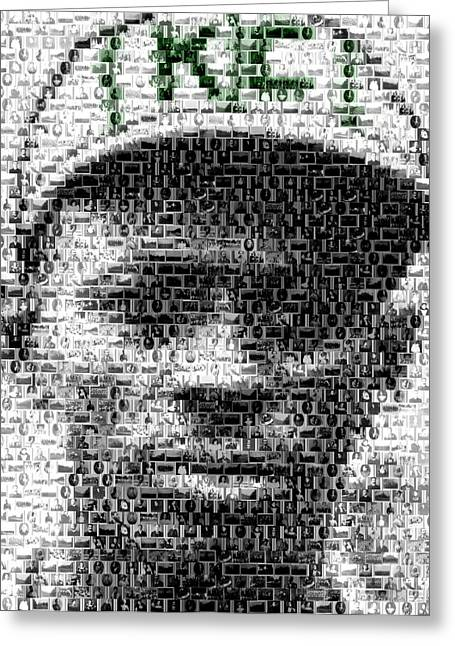 Negro Leagues Greeting Cards - Satchel Paige KC Monarchs African American Mosaic Greeting Card by Paul Van Scott