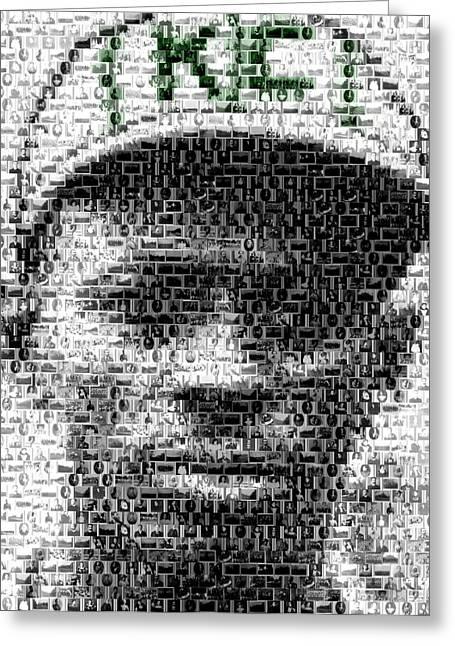 Negro League Greeting Cards - Satchel Paige KC Monarchs African American Mosaic Greeting Card by Paul Van Scott