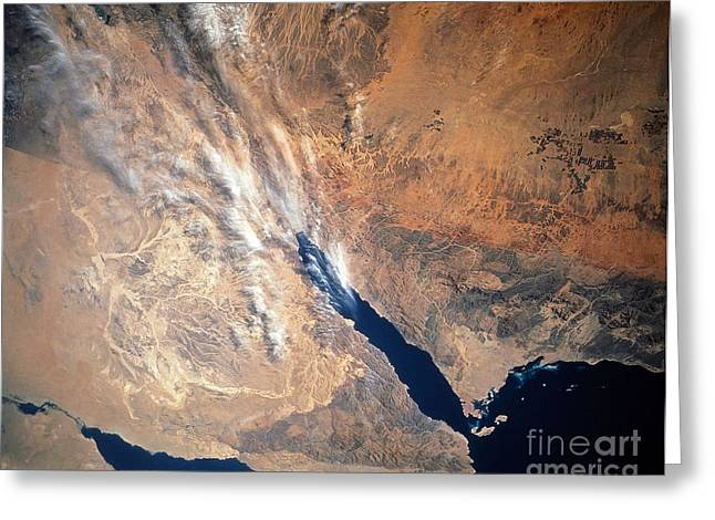 Satellite Image Of Land Greeting Card by Stocktrek Images