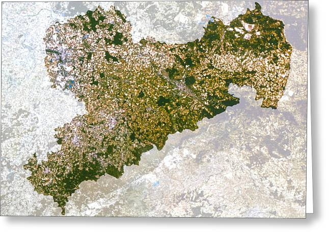 Saxony Greeting Cards - Satellite Image Of Saxony State, Germany Greeting Card by Planetobserver