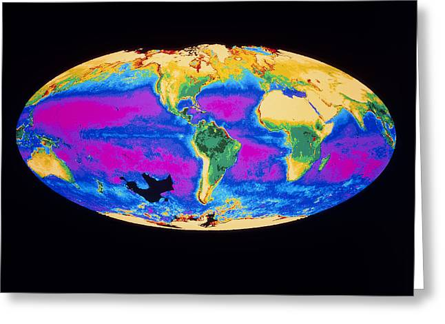 Phytoplankton Greeting Cards - Satellite Image Of The Earths Biosphere Greeting Card by Dr Gene Feldman, Nasa Gsfc