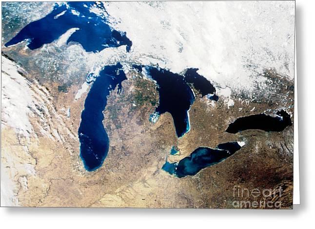 Satellite Image Greeting Cards - Satellite Image Of The Great Lake Region Greeting Card by Nasa