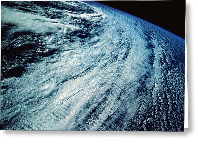 Satellite Images Of Storm Patterns Greeting Card by Stocktrek Images