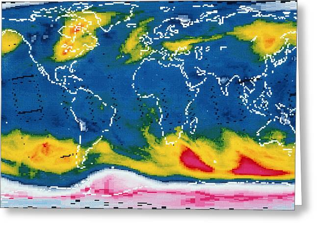 Nimbus-7 Imagery Greeting Cards - Satellite Map Of Global Ozone Greeting Card by Laboratory For Atmospheres, Nasa Goddard Space Flight Center