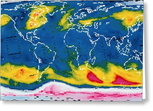 Nimbus-7 Imagery Greeting Cards - Satellite Map Of Global Ozone Greeting Card by NASA / Goddard Laboratory for Atmospheres