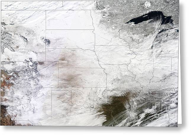 Satellite View Of A Massive Winter Greeting Card by Stocktrek Images