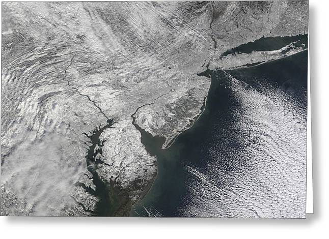 Northeastern United States Greeting Cards - Satellite View Of A Noreaster Snow Greeting Card by Stocktrek Images