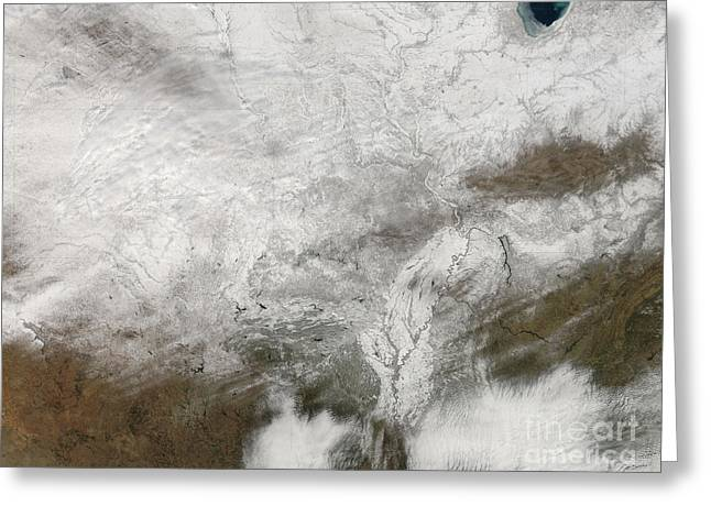 Satellite View Of A Severe Winter Storm Greeting Card by Stocktrek Images