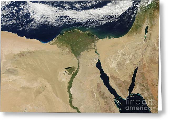 River Nile Greeting Cards - Satellite View Of Cairo, Egypt Greeting Card by Stocktrek Images