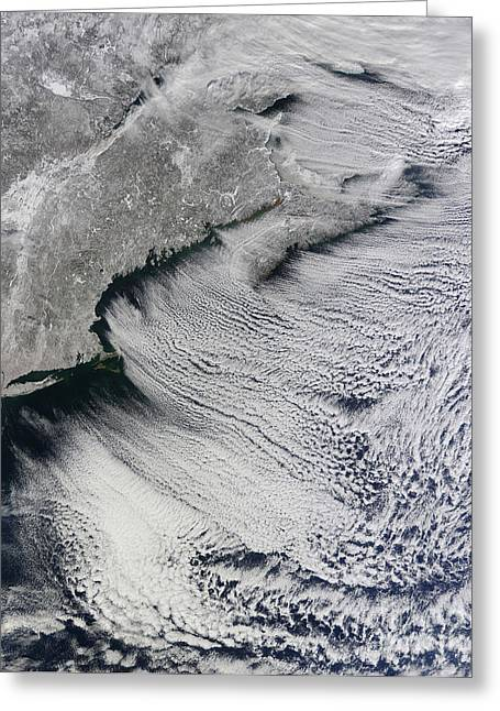 Snow. Ocean Greeting Cards - Satellite View Of Clouds Greeting Card by Stocktrek Images