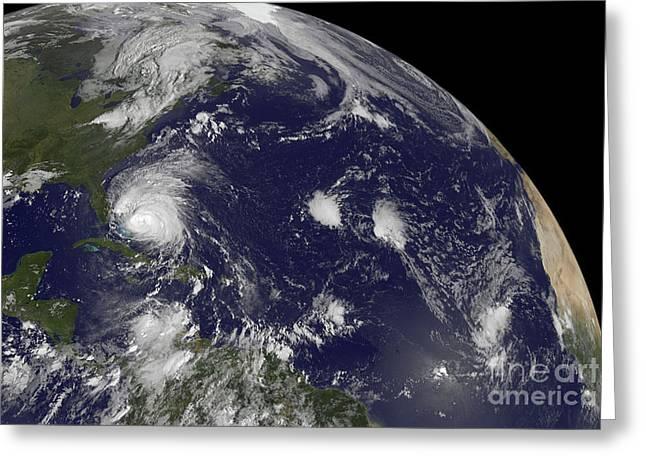 Western Hemisphere Greeting Cards - Satellite View Of Hurricane Irene Greeting Card by Stocktrek Images