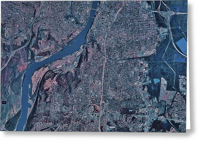 Arkansas Greeting Cards - Satellite View Of Little Rock, Arkansas Greeting Card by Stocktrek Images