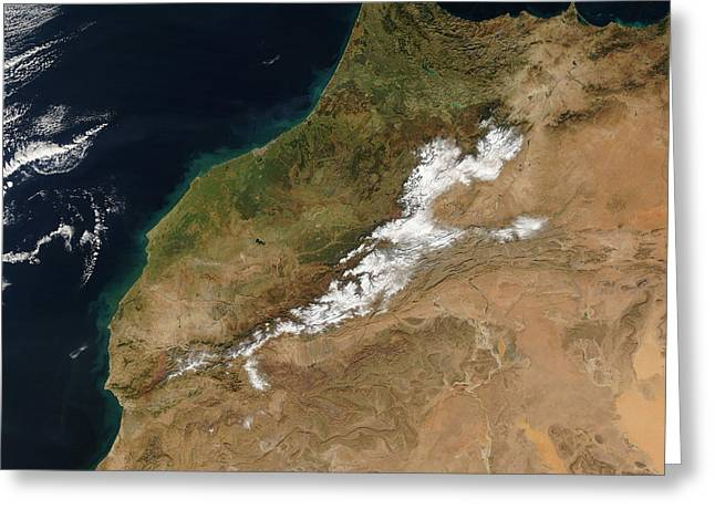 True Colors Greeting Cards - Satellite View Of Morocco Greeting Card by Stocktrek Images