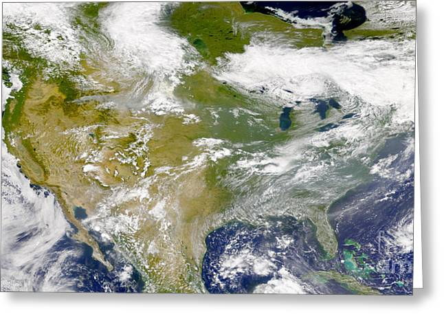 South Dakota Map Greeting Cards - Satellite View Of North America Greeting Card by Stocktrek Images