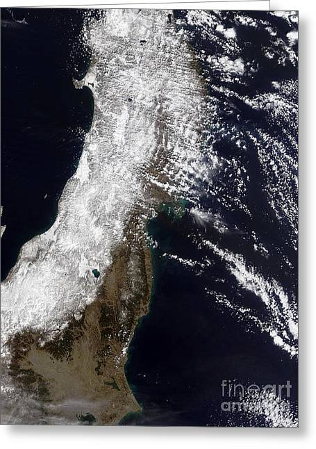 Snow-covered Landscape Photographs Greeting Cards - Satellite View Of Northeast Japan Greeting Card by Stocktrek Images