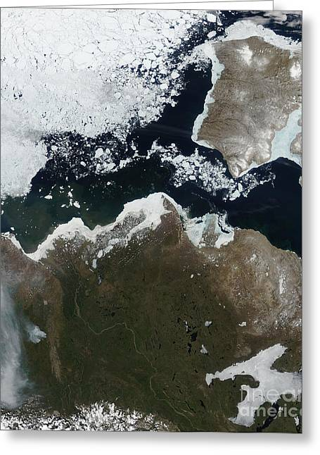 Land Feature Greeting Cards - Satellite View Of Northwest Canada Greeting Card by Stocktrek Images