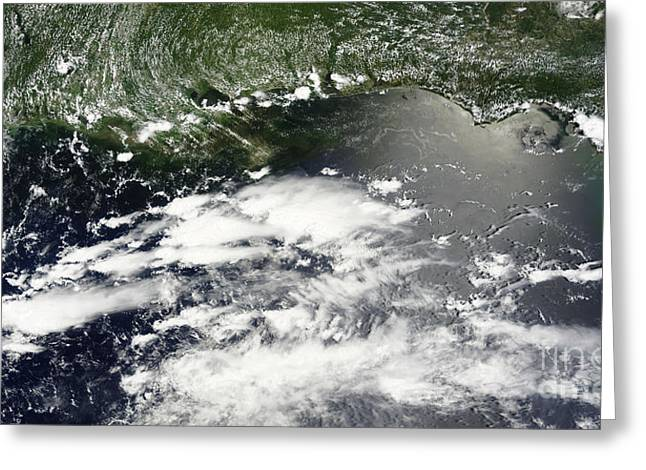 Water Bodies Of Texas Greeting Cards - Satellite View Of Oil Leaking Greeting Card by Stocktrek Images